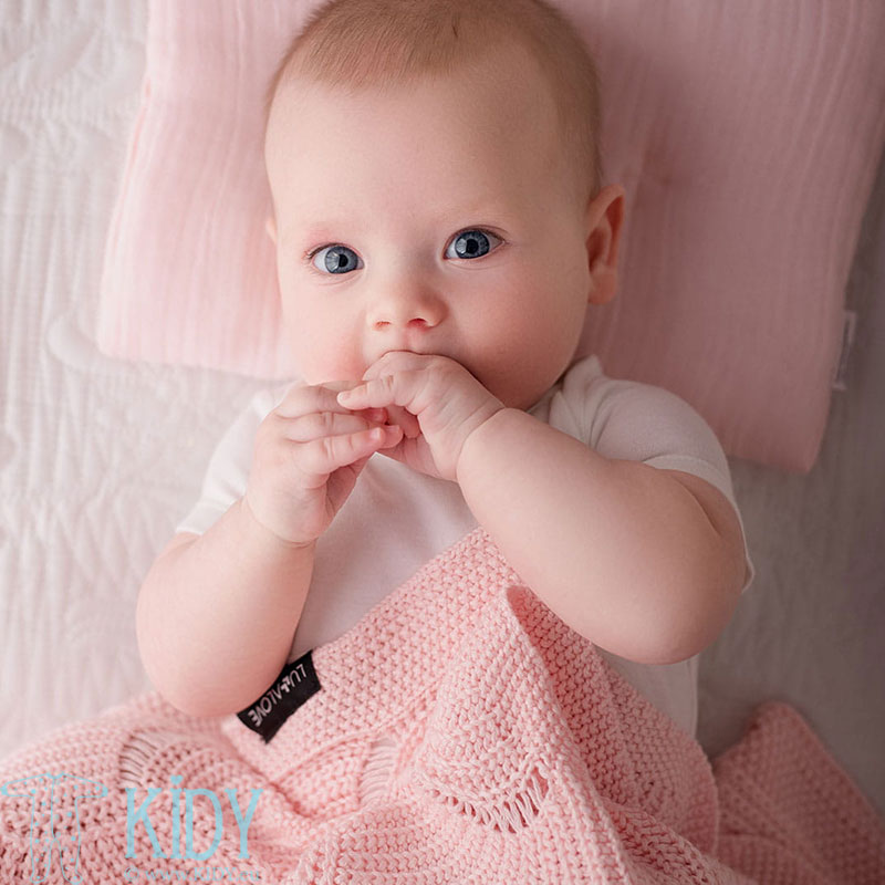 Rožinis megztas bambukinis pledas ROYAL LABEL Różowy Kwarc (Lullalove) 4