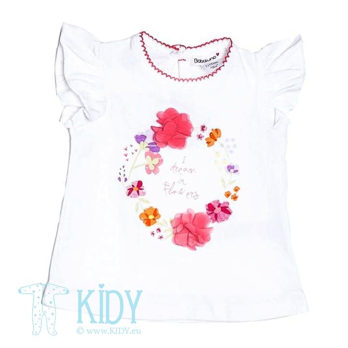 Komplektas FLOWERS: marškinėliai + leginsai + galvos juostele (Babaluno) 4