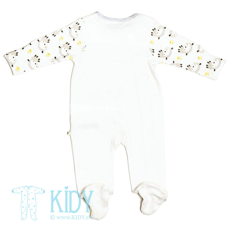 White LAMB sleepsuit with mitts and hat (Babaluno) 4