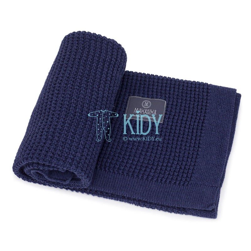 Navy Bambus knitted plaid (MAKASZKA) 4