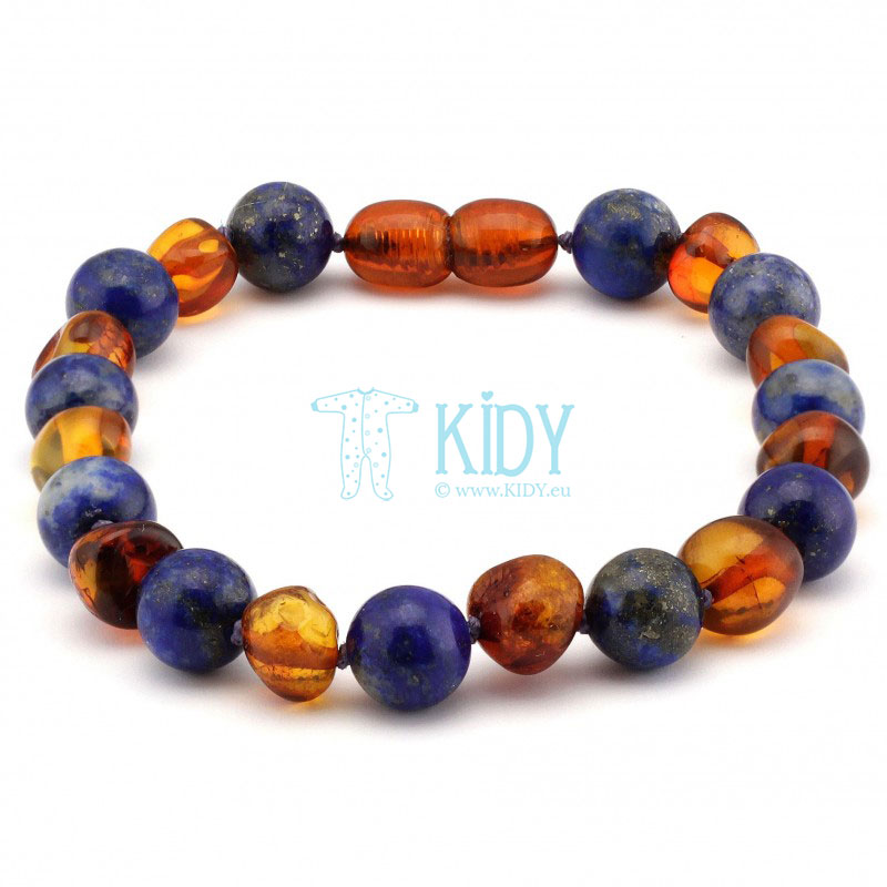 Amber MULTI teething bracelet with lapis lazuli (Baltic Amber) 4