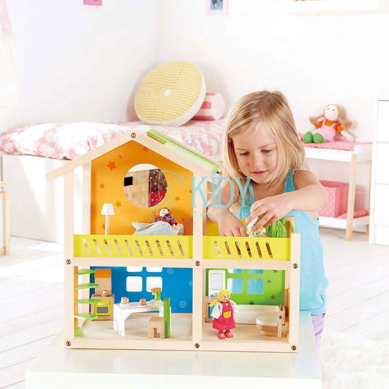 Medinis lėlių namas Linksmoji Vila su baldais (Hape) 4
