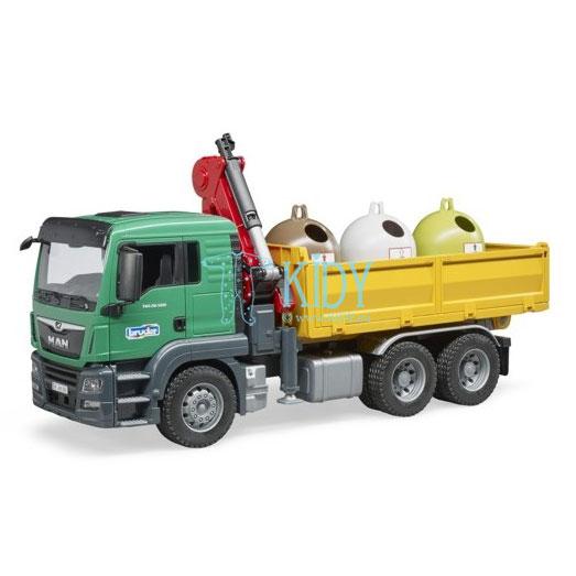 MAN TGS sunkvežimis su kranu ir 3 atliekų konteineriais (BRUDER) 4