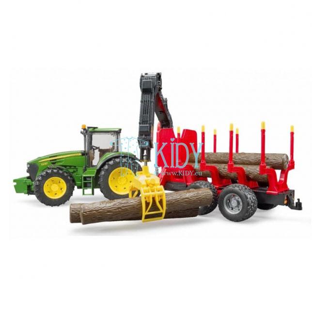 John Deere 7930 traktorius su pakrovimo priekaba + 4 rąstai (BRUDER) 4