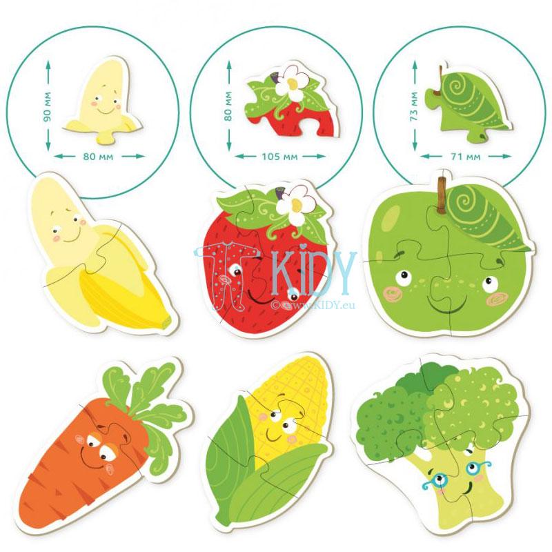 Dėlionių rinkinys Vaisiai ir daržovės, 9 dėlionės 2-4 dalių (DODO Toys) 4