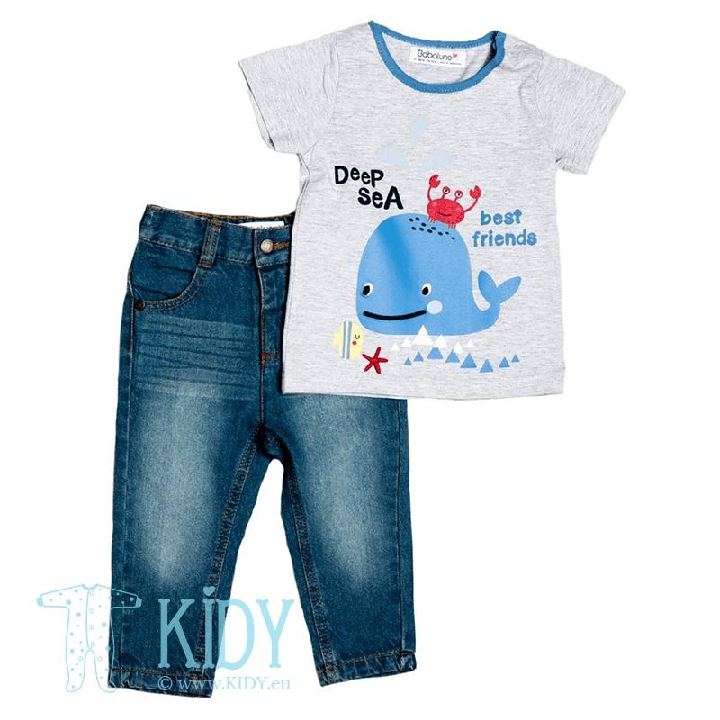 Komplektas DEEP SEA FRIENDS: marškiniai + džinsai