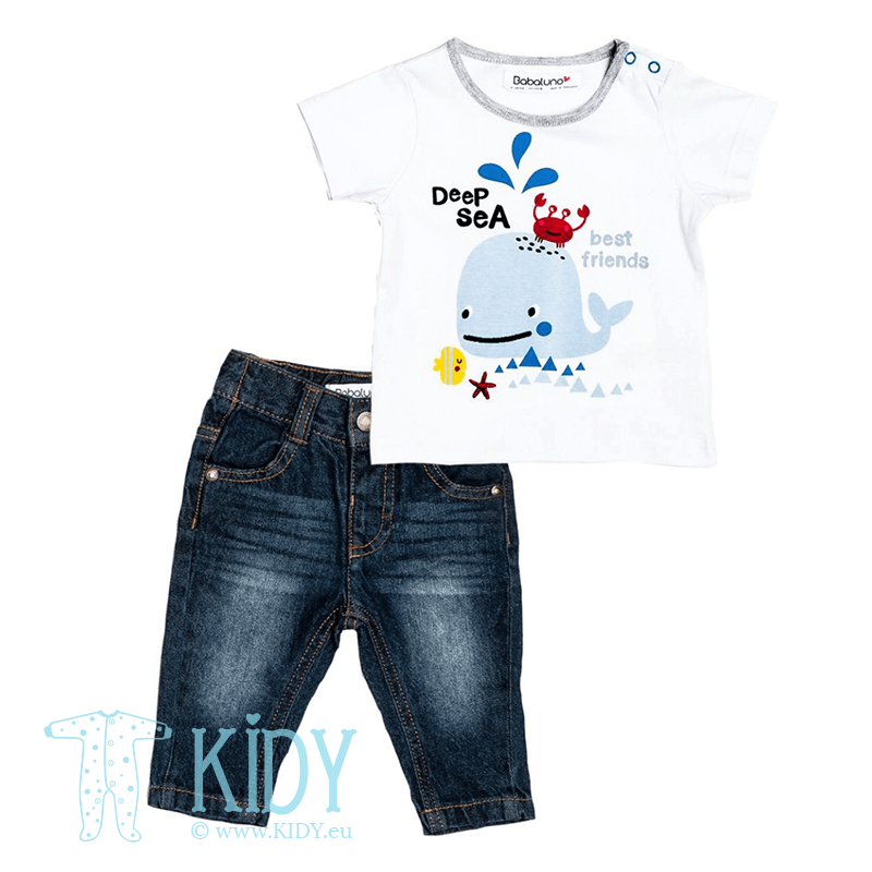 DEEP SEA FRIENDS set: white T-shirt + jeans