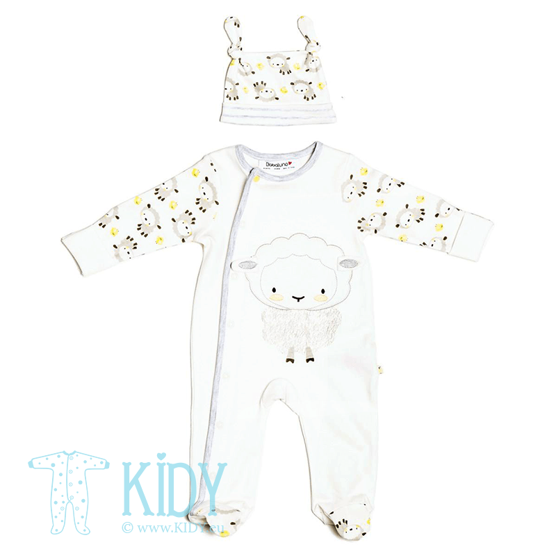 White LAMB sleepsuit with mitts and hat (Babaluno)