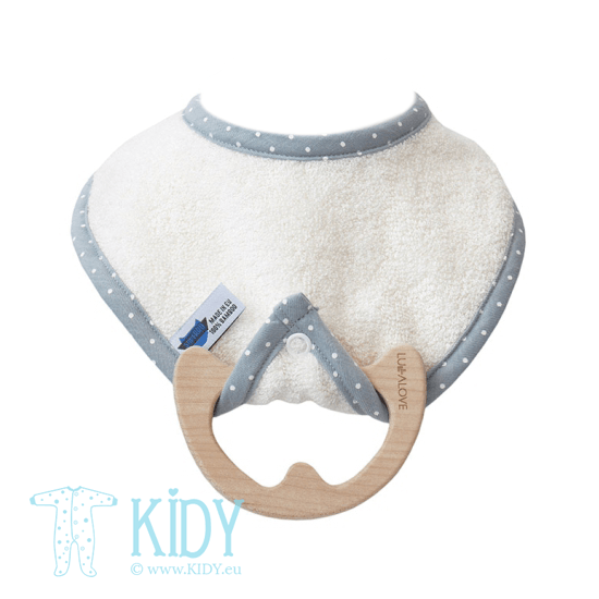 Ecru supeRRO bib with teether