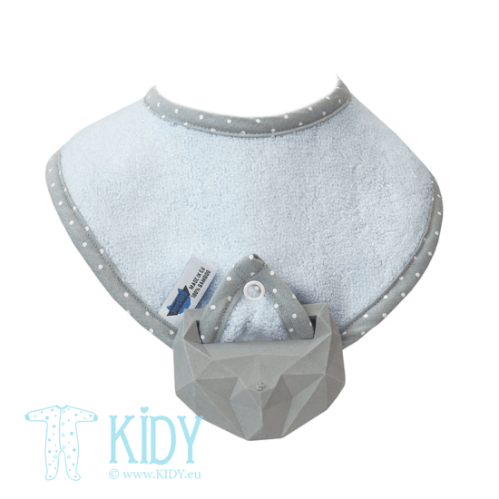 Blue supeRRO bib with teether
