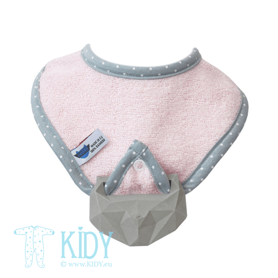 Pink supeRRO bib with teether