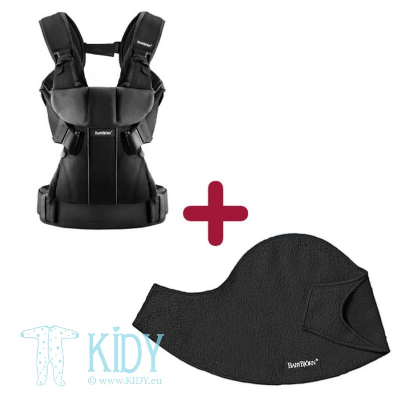 Baby carrier ONE + bib Black Cotton (BabyBjörn)