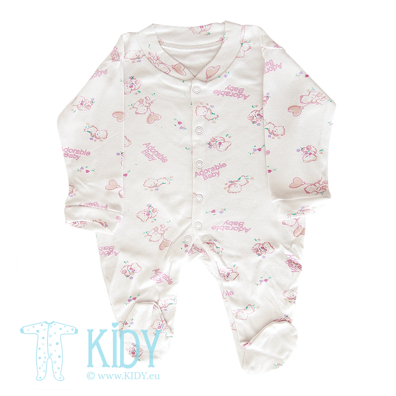 White sleepsuit ADORABLE BABY (Nursery Time)