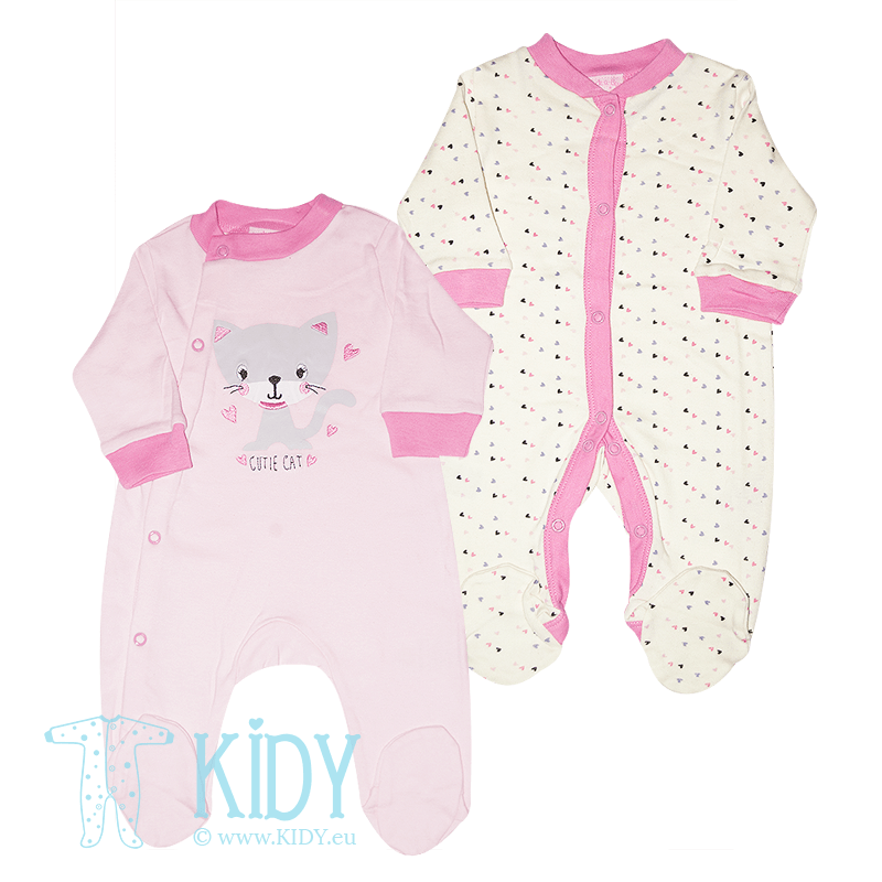 CUTIE CAT set: 2 sleepsuits