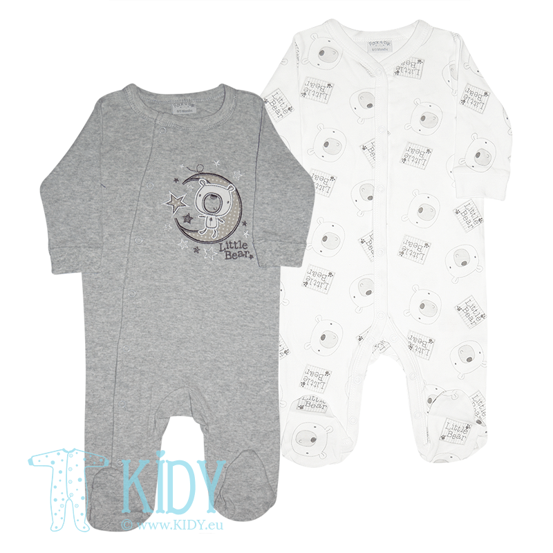 BEAR & MOON set: 2 sleepsuits