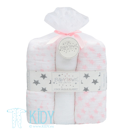 Pink BABY TOWN set: 3 muslin blankets