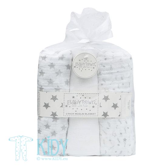 Grey BABY TOWN set: 3 muslin blankets