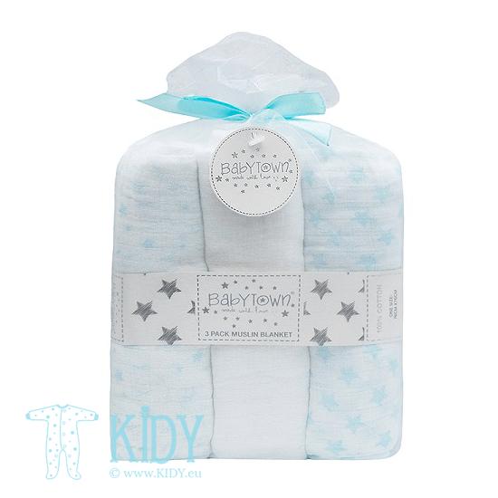 Голубой комплект BABY TOWN: 3 муслиновые пеленки