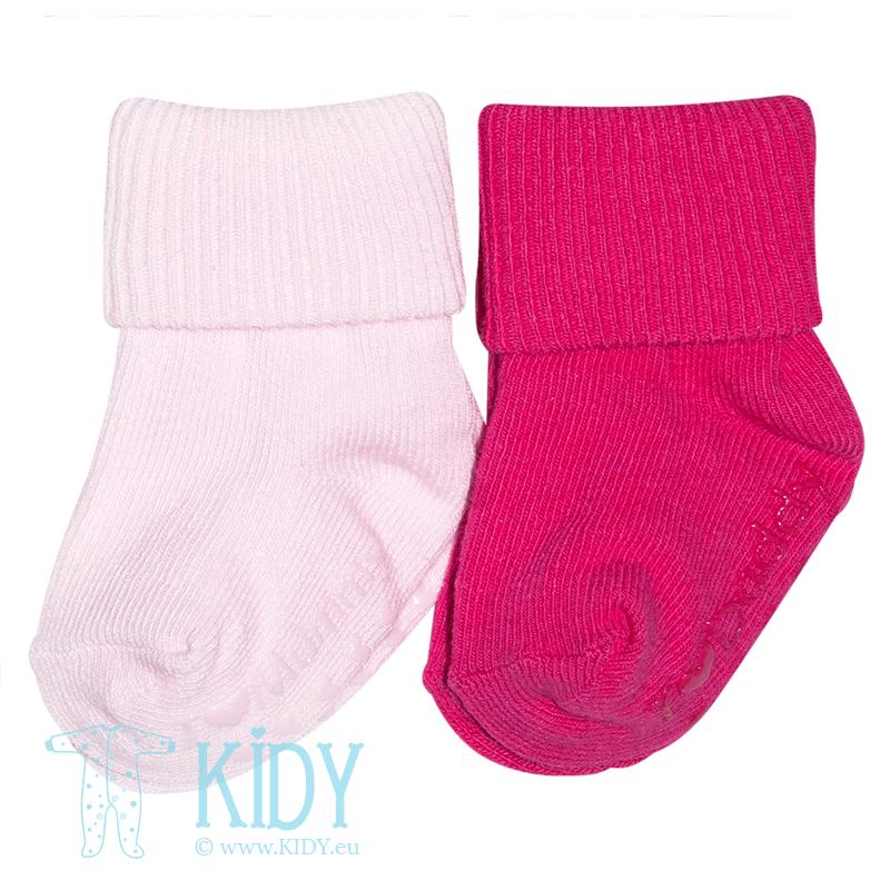 Rožinės kovos slydimo kojinytės ANTI SLIP: 2 poros