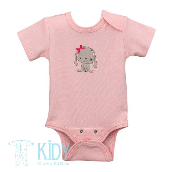 Pink LUCKY baby girl short sleeve bodysuit