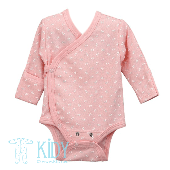 Pink kimono bodysuit LUCKY with mitts