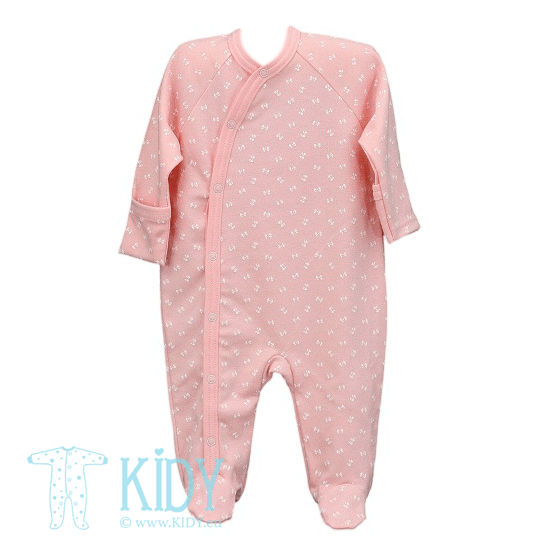Pink LUCKY sleepsuit with mitts