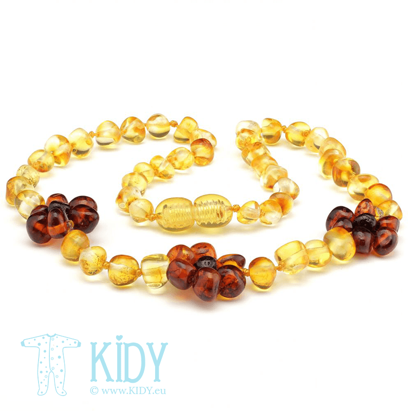 Amber necklace FLOWERS