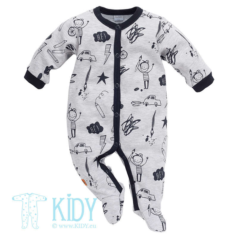 Grey XAVIER sleepsuit