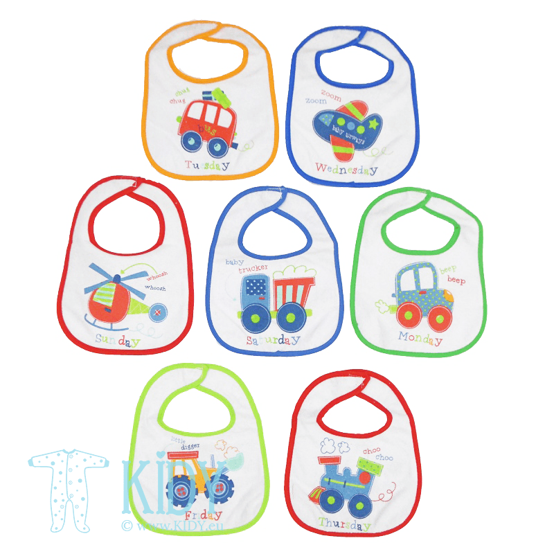DAYS OF THE WEEK set: 7 waterproof bibs