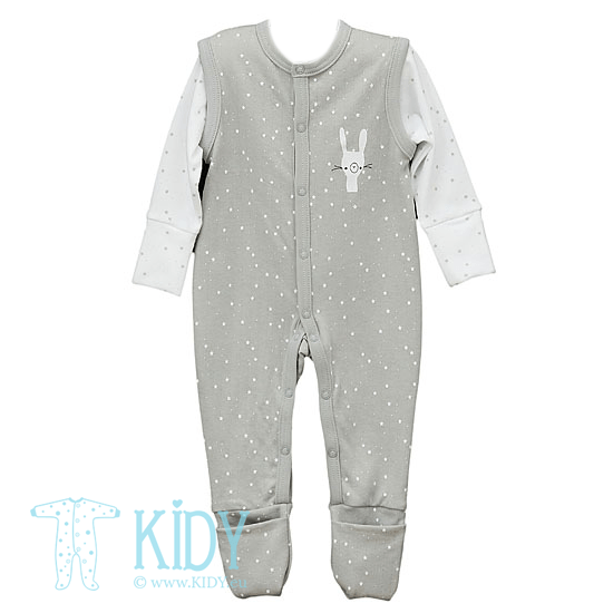 Grey FLUFFY footed sleepsuit