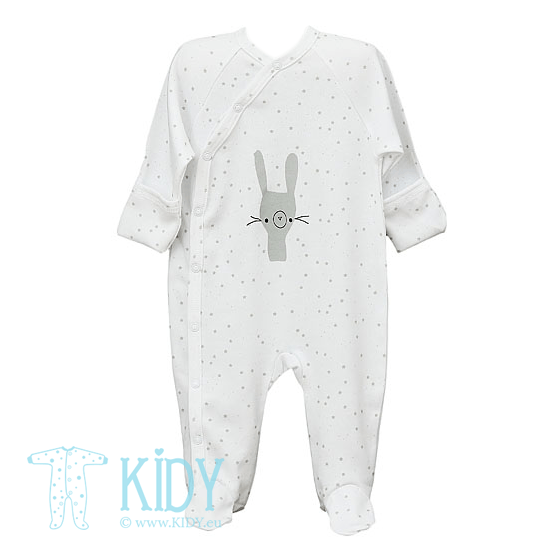 White FLUFFY sleepsuit with mitts (Lorita)
