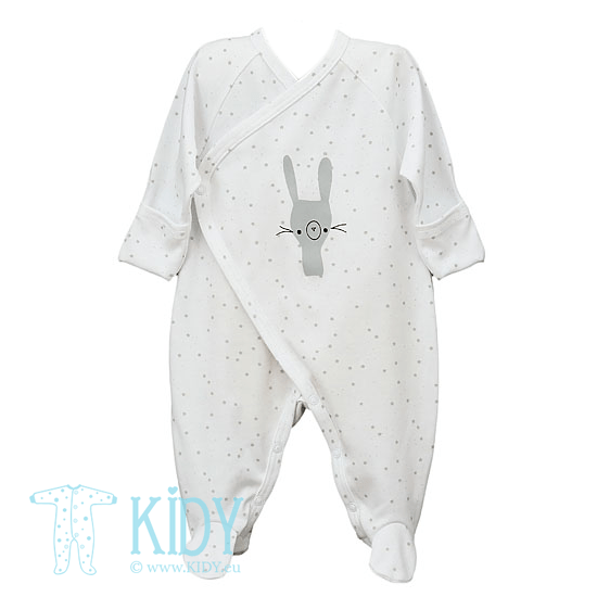 White FLUFFY kimono sleepsuit with mitts