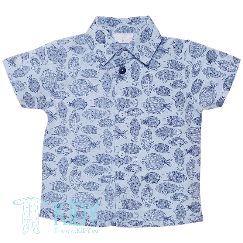 Blue SEA WORLD shirt with short sleeves
