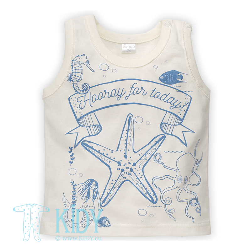Ecru SEA WORLD sleeveless T-shirt