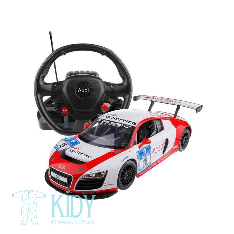 Radio controlled car (RC 1:14 Audi R8) with steering wheel controller (RASTAR)