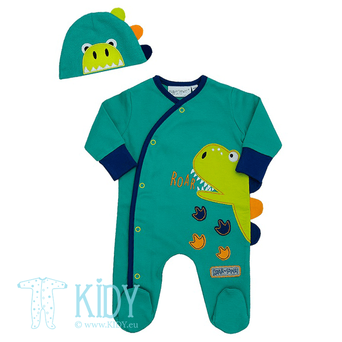 Green DINO sleepsuit with hat
