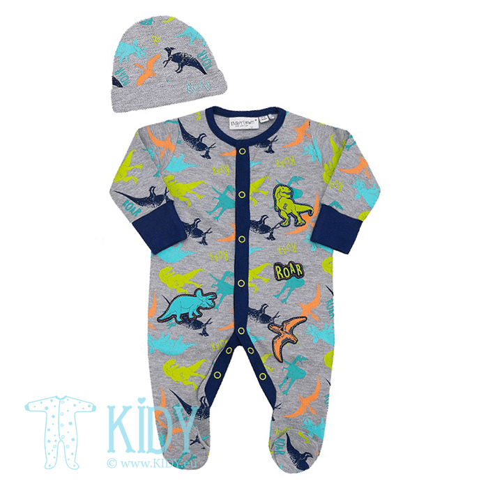 Grey DINO sleepsuit with hat
