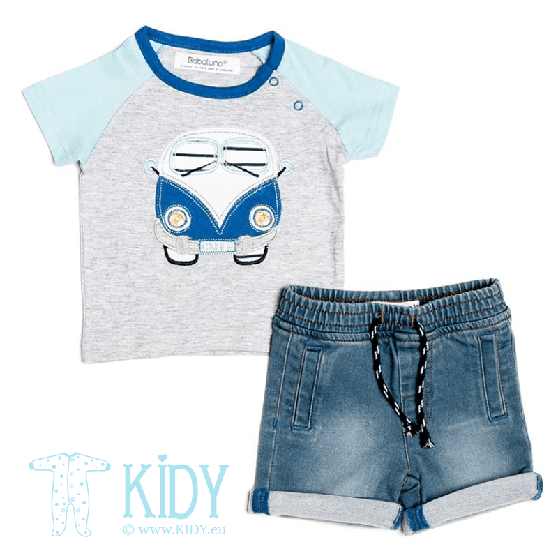 Blue OCEANSIDE set: T-shirt + shorts (Babaluno)