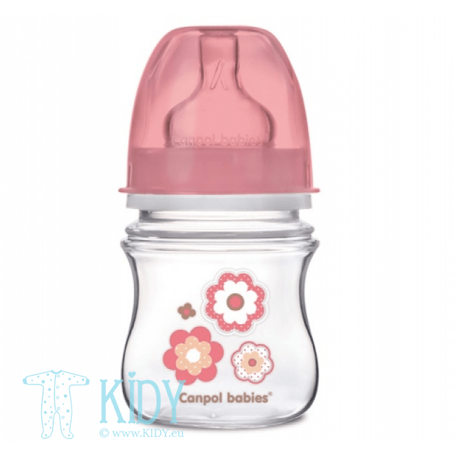 Pink wide neck anticolic bottle EASY START (Canpol Babies)