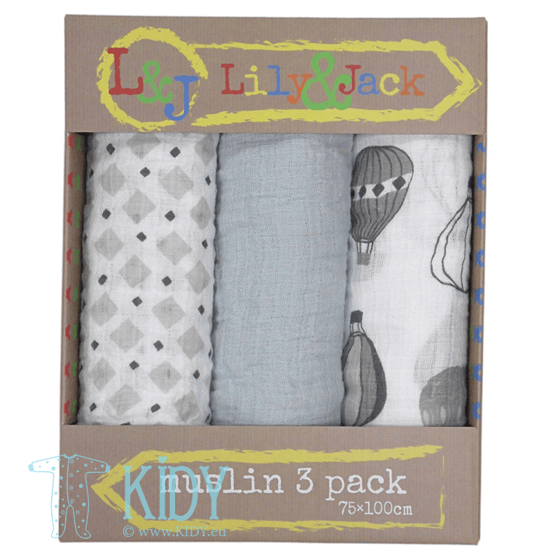 Grey JUMBO set: 3 muslin wraps