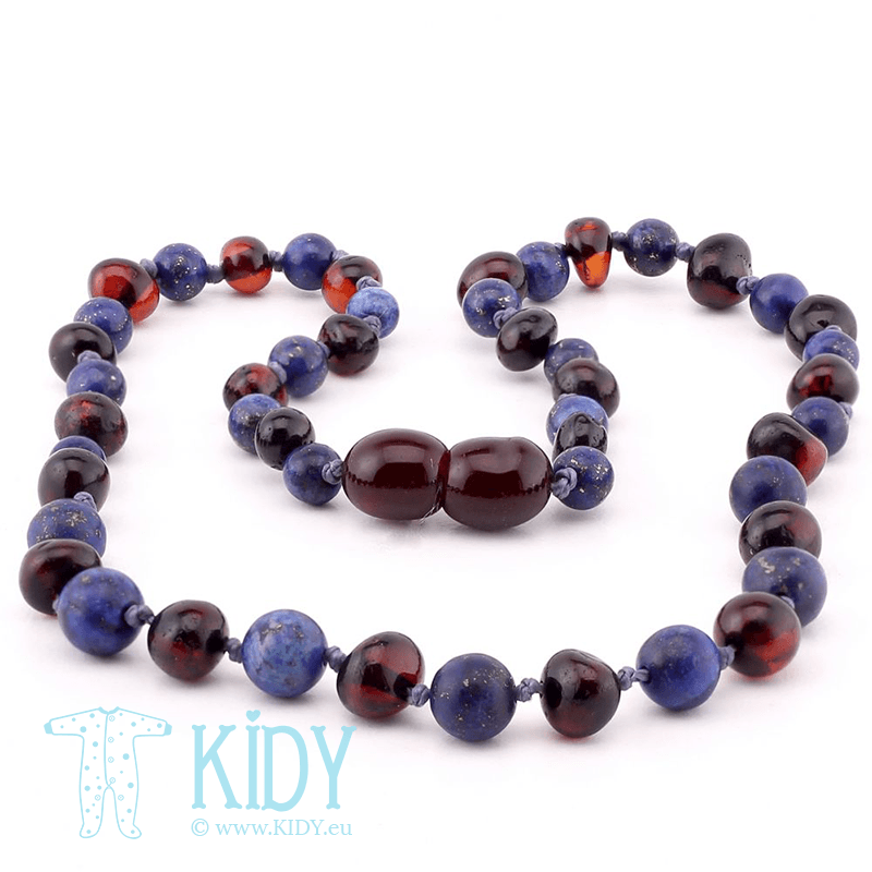 Amber BLACK teething necklace with lapis lazuli