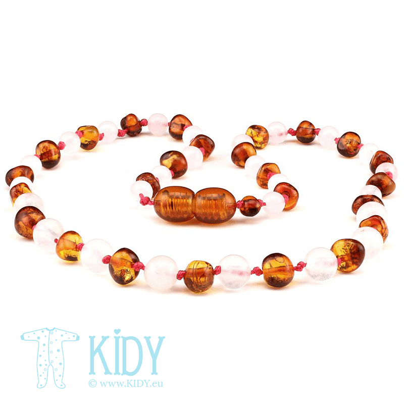 Amber COGNAC teething necklace with rose quartz