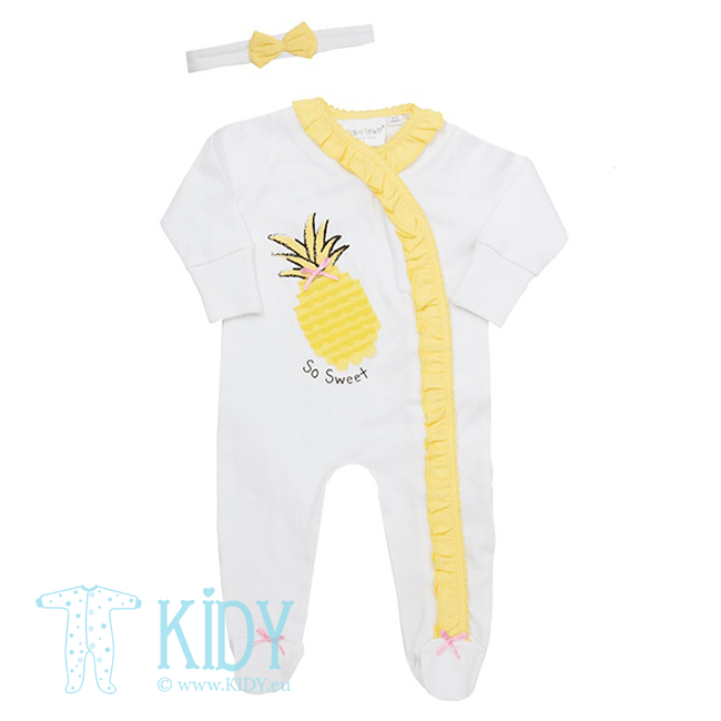 White PINEAPPLE sleepsuit with headband