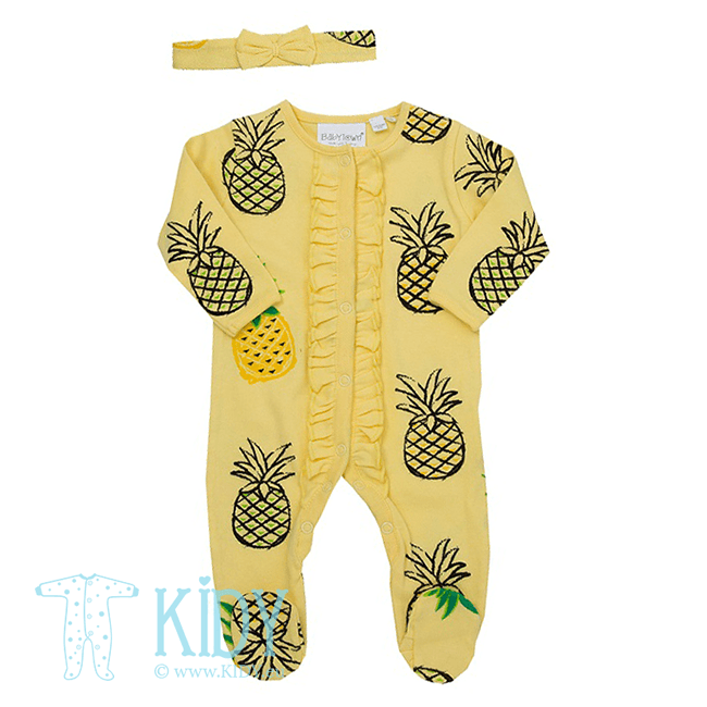 Yellow PINEAPPLE sleepsuit with headband