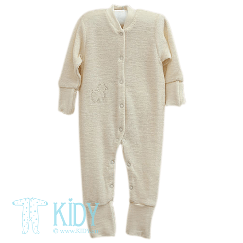 Creamy LOLLY LAMB merino wool sleepsuit (Lorita)