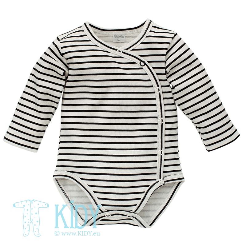 Striped HAPPY DAY kimono bodysuit