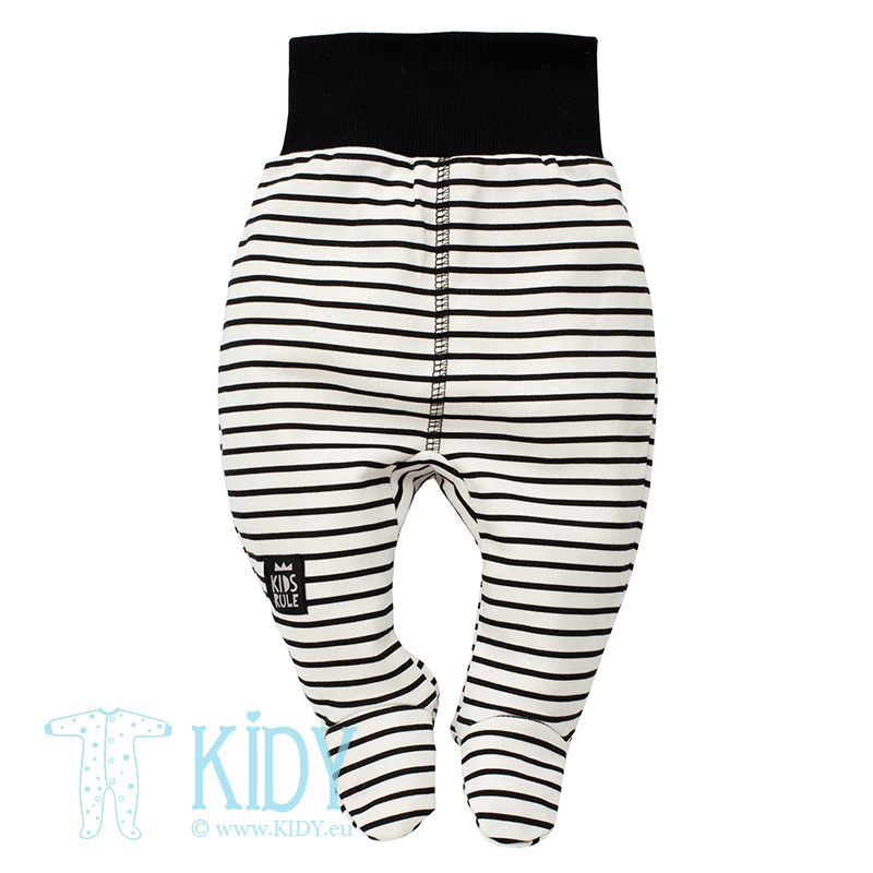 Striped HAPPY DAY footed pants