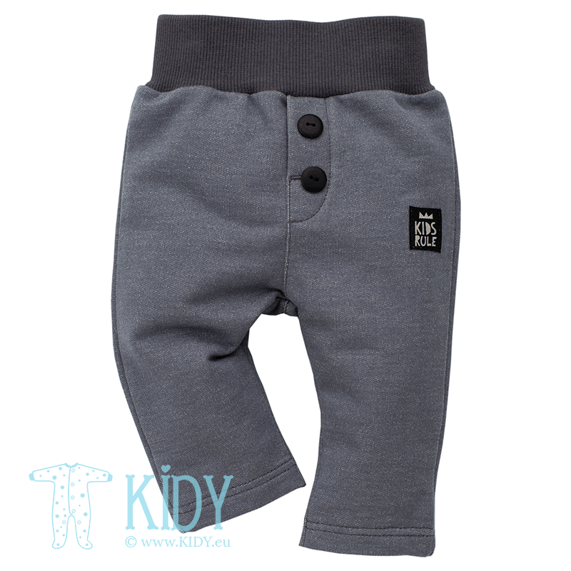 Grey HAPPY DAY pants with buttons