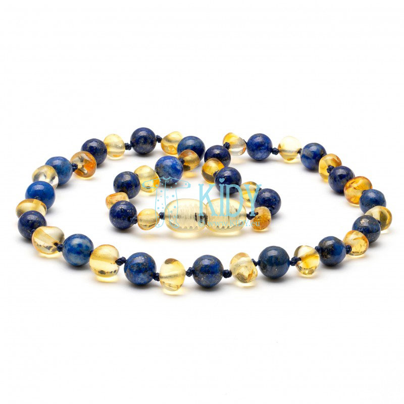 Amber LEMON teething necklace with lapis lazuli