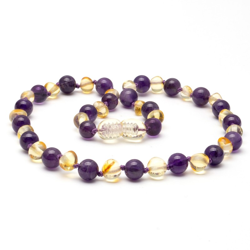 Amber LEMON teething necklace with amethyst